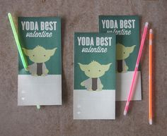 Yoda Best Valentine Card: Free printable. Just add a light sabre or a Pixie Stick.