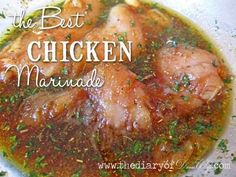 """The Best Chicken Marinade Ever! Whisk 1/4 cup extra virgin olive oil, 1/2 cup soy sauce, 1 tsp minced garlic cloves, 3 Tblspns brown sugar, 1 Tblspn parsley flakes, 1 1/2 Tblspns McCormick brand """"Montreal Chicken Seasoning"""" (it can be found in the spice aisle of the grocery store) in a medium sized bowl. Add chicken. Marinate chicken at least 1 hour and then bake or grill as desired. by sonya Best Chicken Marinade, Chicken Marinades, Marinated Chicken, Meat Marinade, Easy Chicken Breast Marinade, Overnight Chicken Marinade, Chicken Recipes, Soy Chicken, Mexican Chicken"""