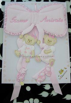 Fiocco nascita rosa per gemelli