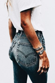 High waisted denim jeans with simple white tee.