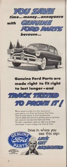 1952 FORD vintage print advertisement Genuine Ford Parts #retro #car #ad
