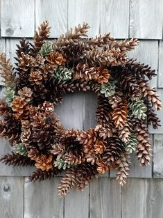Rustic Pinecone Wreath in Sage, Caramel, espresso, and latte
