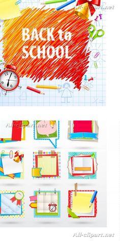 Бумажные школьные листочки - школьный вектор   School paper notes vector