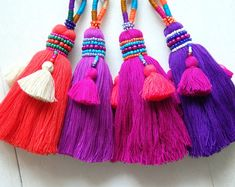 Luxury beaded Thai tassel, ONE beaded tassel with clip for bags, accessories, Choose your colour! boho tassel, ethnic beaded tassel - ONE