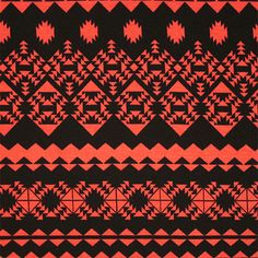 """Muted Coral and Black Ethnic Rows Cotton Spandex Blend Knit Fabric - Muted black and coral orange ethnic inspired rows design on a soft cotton spandex rayon jersey blend knit.  Fabric has a nice drape and soft hand, and is mid weight with a 4 way stretch.  Pattern repeat measures 13"""" (see image for scale).  ::  $6.50"""