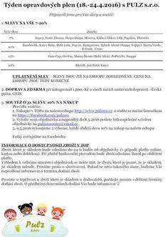 Týden opravdových plen (18.-24.4.2016) s PULZ s.r.o. - Článek uživatelky pulzsro