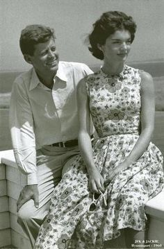 John Fitzgerald Kennedy and Jacqueline Kennedy at Hyannis port 1960 by Oriana Fallaci