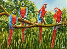 Imfpa Parrots Together Painting Contemporary Wall Art