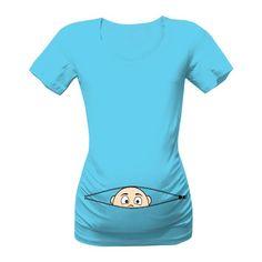 Těhu tričko s vykukujícím miminkem. Těhotenské tričko jak vykukuje miminko. Jiná barva trika samozřejmě možná.