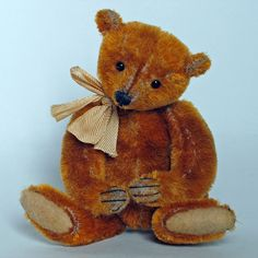 """Paula Strethill-Smith miniature teddy bear artist. Treacle 4"""" high created from genuine antique mohair in golden syrup tart colour! hence his name."""