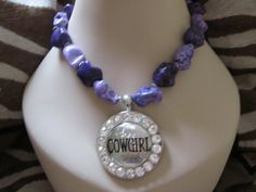 Cowgirl pendant with purple chunky beads!  Love