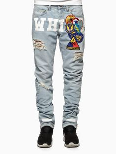 Embroidered vintage denim pants from the Off-White c/o Virgil Abloh collection. Denim Pants, Ripped Jeans, Men's Jeans, Trouser, Fashion Killa, Mens Fashion, Off White Virgil Abloh, Fashion Bazaar, Off White Mens