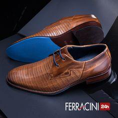 Os modelos da linha Caravaggio são produzidos com couros nobres tanto nos cabedais como nos solados.  Os detalhes em pesponto no cabedal do modelo 5671h dão mais elegância para looks casuais.  #ferracini24h #shoes #cool #trend #brasil #manshoes