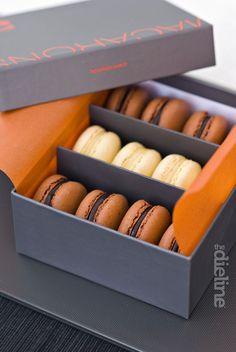 Slate and Orange multi macaron box Macaroon Packaging, Cake Boxes Packaging, Macaroon Box, Baking Packaging, Dessert Packaging, Chocolate Box Packaging, Cupcake Packaging, Sweet Box, Macaron Recipe