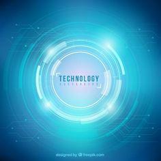 Blue technology circles background