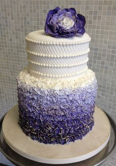 Purple ombre ruffle cake Cake by Over The Top Cakes Designer Bakeshop