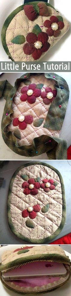 purse with flowers in a Japanese technique of patchwork.  DIY step-by-step tutorial.  http://www.handmadiya.com/2015/08/little-purse-tutorial.html: