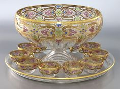 Values for 13 Pc. Fritz Heckert gilt enameled punch bowl setComprising: cups large round tray punch bowl all clear glass with gilt enameled Art Nouveau to appraise similar items instantly without sending photos or descriptions. Vintage Dishes, Vintage Items, Vintage China, Cut Glass, Glass Art, Clear Glass, Pink Punch Recipes, Types Of Glassware, Punch Bowl Set