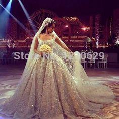 lüks ışıltılı kepçe kap kol boncuklu Aplikler Lübnan balo elbisesi gelinlik 2015 vestido de noiva