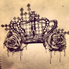 Crown and roses tattoo