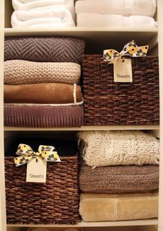 Project for Today - Linen Closet Makeover.put pillowcases and sheets & tablecloths In baskets. This is so cute to decorate your closet plus a lovely way to organize your linen closet ! Closet Organizer With Drawers, Linen Closet Organization, Organization Hacks, Closet Storage, Organizing Ideas, Bathroom Organization, Closet Racks, Organization Station, Basket Organization