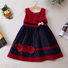 2016 outono inverno roupas de veludo meninas vestido menina primavera e outono inverno colete vestido de festa vestido de princesa Frocks For Girls, Dresses Kids Girl, Little Girl Dresses, Kids Outfits, Dress Girl, Baby Outfits, Baby Frocks Designs, Kids Frocks Design, Baby Dress Design