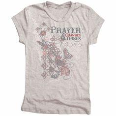 Prayer Changes Junior Christian T Shirt by Gardenfire $18.50
