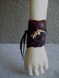 Chocolate Leather Jawbone Cuff -- leather burning man tribal fusion belly dance amazon larp barbarian apocalyptic brown