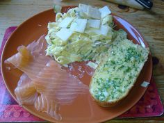 #Pasta #Fungi with #smoked #salmon and home made #garlic bread