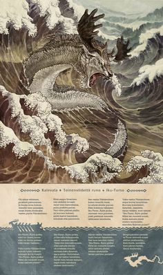 Iku-Turso is a sea-monster in the Finnish mythology collected in the poetry of Kalevala. Illustration by Miina Sundberg. Fantasy Creatures, Mythical Creatures, Sea Creatures, Myths & Monsters, Sea Monsters, Runes Futhark, Detailed Paintings, Cryptozoology, Norse Mythology