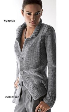 Knit Cardigan Pattern, Chunky Knit Cardigan, Jacket Pattern, Coat Patterns, Knitting Patterns, Pull Gris, Knitted Poncho, Knit Jacket, Business Fashion
