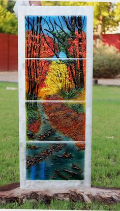 Crossing the Creek, I'm always amazed at the colors of Fall and how just one tree can captivate you with it's color. Completed in all fused glass, 4 sections, on aluminum panel. Fused Glass, Stained Glass, One Tree, Art Studios, Glass Art, Art Gallery, Canning, Landscape, Colors