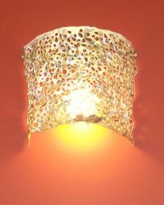 Handmade wall lamp made of brass. Handmade Lamps, Brass Lamp, Baskets On Wall, Lighting, Design, Home Decor, Decoration Home, Room Decor, Lights