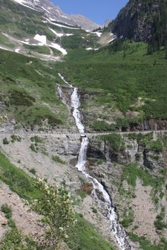 Bird Woman Falls, Glacier National Park, Going-to-the-Sun Road.  2013.  I love how this falls seems to defy gravity.
