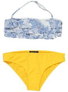 Paisley Blue And Yellow bikini For Girls. Retro print bikini with ruffles. Perfect fit bikini for tween girls. Available at your number one store. Stella Cove!!