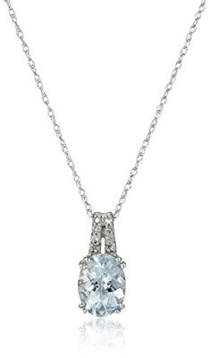 "10k White Gold Checkerboard Oval Aquamarine and Diamond Pendant Necklace, 18"" - Jewelry For Her"