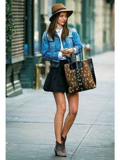 denim jacket × flair skirt