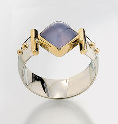 """Diagonal Square Ring""        Silver, Stone and Gold Ring                                                                              Created by                          Linda Smith"