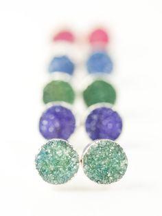 Silver druzy stud earrings by www.kealohajewelry.com https://www.etsy.com/listing/164895405