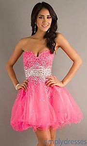 Shop Simply Dresses for Mori Lee strapless short prom dresses and beaded baby doll dresses for prom or party.