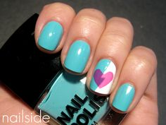 1) Use tape to create a lightning bolt on your nails with two different colors  2)let dry  3) use a heart punch (crafting) to punch a heart in tape!  4) place taped heart over nail  5) Paint in the heart  6) peel off tape!    Tada! broken heart mani