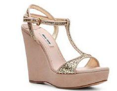 Miu Miu Suede & Glitter Wedge Sandals 36.5  #MIUMIU #PlatformsWedges