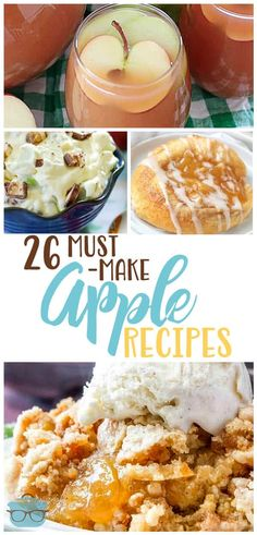 26 of the Best Must-Make Apple Recipes. From Caramel Apple Dip to Butter Crumble Apple Pie to super simple Apple Cinnamon Rolls. Best Apple Recipes, Fall Recipes, Favorite Recipes, Simple Apple Recipes, Recipes For Apples, Cheap Recipes, Sweets Recipes, Easy Desserts, Cooking Recipes