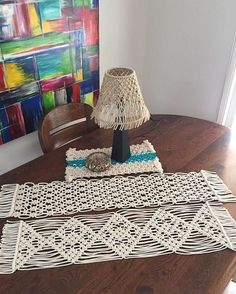 Some pieces for the house. #macrame #markets #modernmacrame #tablerunner #lampshade #handmade #homedecor #diningroom #getknottedcreations #cotton