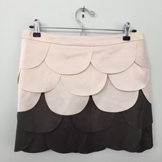 """PRICE DROP: Ryu:   Scallop Petal Mini Skirt 100% polyester. Size M. Approx. 14.5"""" in length. Ivory and charcoal grey petals. Lined. Machine wash cold. Fits like a 6. There a few small marks on the waistline and back as seen in photos. I never worn this skirt so most likely will come out with dry cleaning. Offers welcome! Ryu: Skirts Mini"""