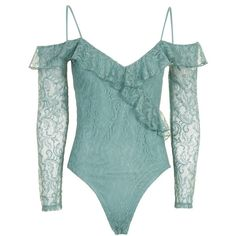 TopShop Petite Lace Cold Shoulder Body (£18) ❤ liked on Polyvore featuring tops, blue, green top, petite lace top, cut-out shoulder tops, long sleeve lace top and lace top