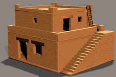 gallery, Poser: Biblical house - Biblical house, version with . Ancient Egypt Architecture, Arch Architecture, Cardboard Box Houses, Architectural Columns, Mud House, Modelos 3d, Small Places, Bible Crafts, Miniature Houses