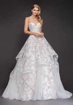 Wedding Dress Ball Gown Style 1800 Lulu Blush by Hayley Paige bridal gown - Ivory floral embroidered tulle bridal ball gown, strapless sweetheart bodice, cascading tiered skirt with cashmere lining and horsehair trim. Western Wedding Dresses, Sexy Wedding Dresses, Bridal Dresses, Wedding Gowns, Bling Wedding, Tulle Wedding, Ivory Wedding, Mermaid Wedding, Prom Dresses