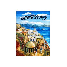 Santorini Island, Greece Giclee Print Wall Art ($50) ❤ liked on Polyvore featuring home, home decor, wall art, island home decor, island wall art, giclee wall art and giclee poster