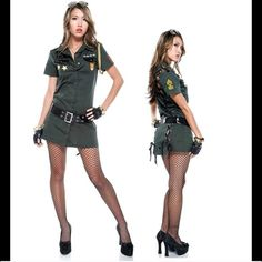 Sexy Military Halloween Costume Marine Seductress sexy military costume. Worn once - like new! A button-front shirt dress in deep army green has flirty back lace-up detail, star and chevron badge appliques, and a gold rope aiguillette on the shoulder. This price includes the black patent belt I purchased separately (orig $25) to help complete the look. 🎃 Forplay Catalogue Other